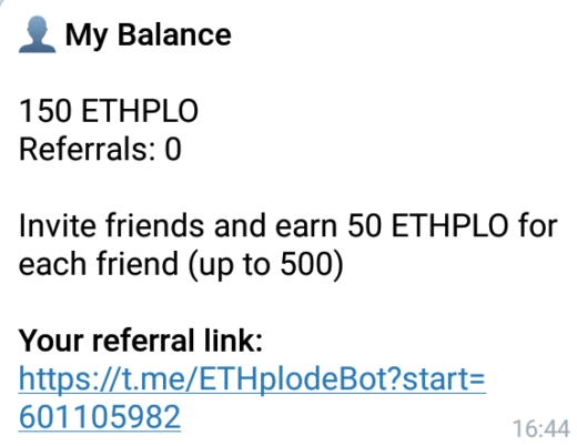 👉 Airdrop ETHPlode 👈  Free 150 ethplo Per referral 50 ethplo  Link 👇👇  https://t.me/ETHplodeBot?start=601105982  👉 Start bot 👉 Submit captcha 👉 Click earn ETHPLO 👉 Complete task  Done  #Reminder  # ethereum # bitcoin # litecoin # trx # cryptocurrency # crypto # EOS # ETH # blockchain # airdrop # bounty # ERC20 # ICO # exchange # btc # giveaway