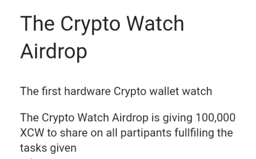 👉 Cryptowatch Airdrop 👈  The Crypto Watch Airdrop is giving 100,000 XCW to share on all partipants fullfiling the tasks given  Link : https://docs.google.com/forms/d/e/1FAIpQLSfuXhwyALOcf8-qjv3OI0Q4p0pRR9Yc0LmTD47h10GNssdQDQ/viewform?entry.629073734=@babbeh_1  👉 Follow twitter & Retweet 👉 Join telegram group & channel 👉 Follow facebook & share post 👉 Make a tweet about cryptowatch 👉 Submit details 👉 Enter referral : @babbeh_1  Done  # ethereum # bitcoin # litecoin # trx # cryptocurrency # crypto # EOS # ETH # blockchain # airdrop # bounty # ERC20 # ICO # exchange # btc # giveaway