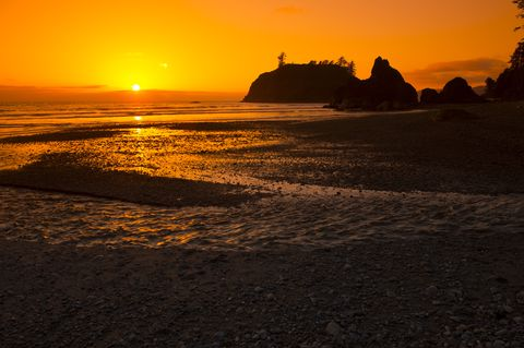 While the coastal section of Olympic National Park is rockier than it is sandy, it's still worth visiting Ruby Beach for the views alone.